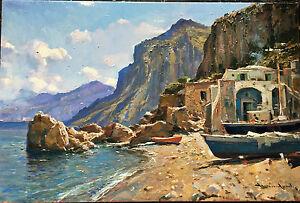Dipinto ad olio su tela 40x60 di Vincenzo Aprile - Capri, scorcio marino - Italia - Dipinto ad olio su tela 40x60 di Vincenzo Aprile - Capri, scorcio marino - Italia