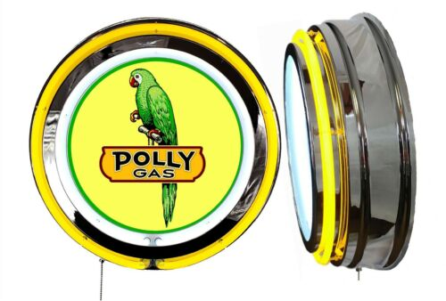 Polly Gas Bird Sign, Neon Sign, YELLOW Outside Neon, Chrome Shell, Clock Delete