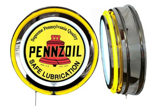 Pennzoil Oil Sign, Neon Sign, YELLOW Outside Neon, Chrome Shell, Clock Delete