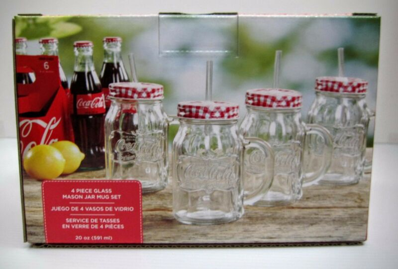 Coca-Cola 4-Pack Mason Jars (20oz) - NEW IN BOX