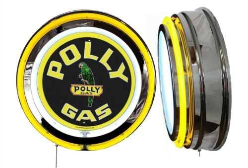 Polly Gas Classic Sign, Neon Sign, YELLOW Outside Neon, Chrome Shell, No Clock