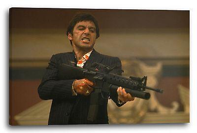 Lein-Wand-Bild Scarface Tony Montana schießt mit Vollautomatik nach unten (farbi