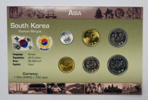ASIA The Coins Of South Korea 6 Coin Set various BU from 1983-2006