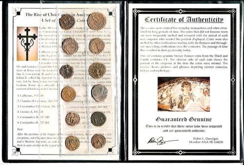 12 Bronze Roman Coins, Rise of Christianity in Ancient Rome,Album & Certificate