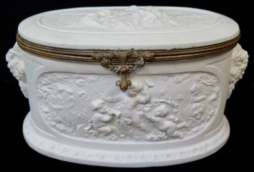 Vintage Continental Large Figural Bisque Box