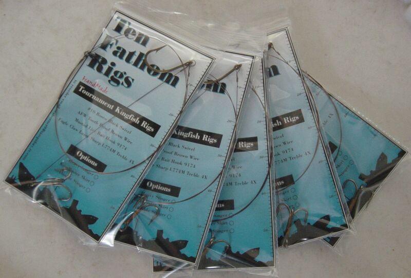 5 Kingfish Rigs * Live Bait * King Mackerel Leaders * VMC Black Nickel Treble