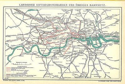 Alte Stadtkarte 1903: Londoner Untergrundbahnen und übriges Bahnnetz.  (B14RA)