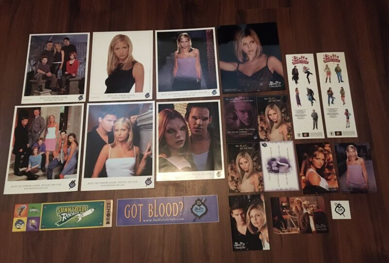 Buffy the Vampire Slayer Fan Club Collection. Photos, Bumper Stickers, Postcards