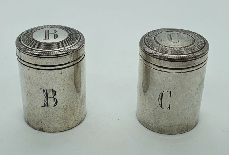 Pair Of 19th Century French Silver Holy Oil Stocks