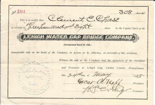 PENNSYLVANIA Lehigh Water Gap Bridge Company Stock Certificate 1928