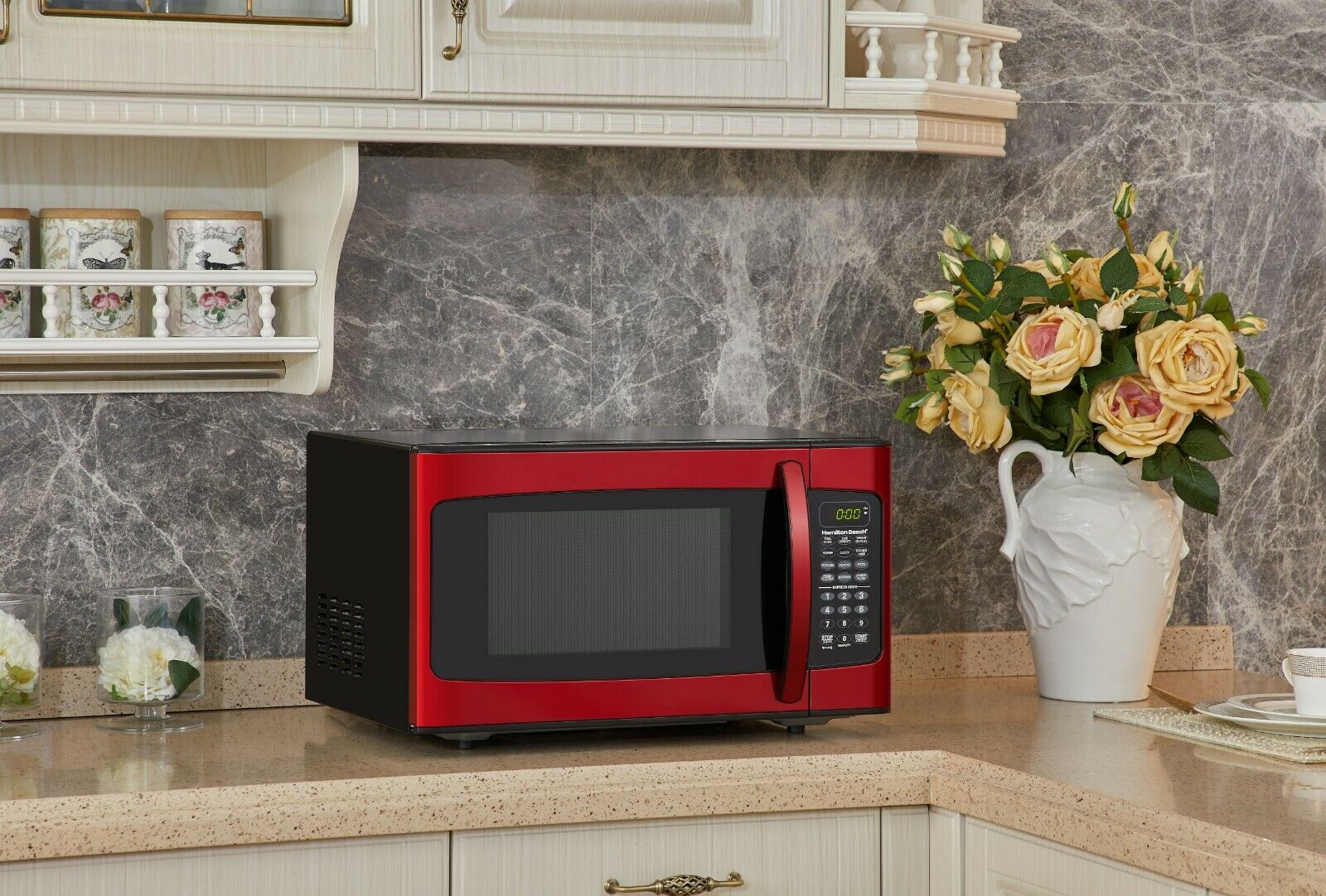 Red Countertop Steel Microwave Stainless Oven Sharp LED Disp