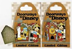Disney Doorways Pinocchio & Jiminy Cricket & Cuckoo Clock Hinged 3-D Pin LE 4000