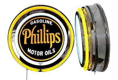 Phillips 66 Gas n Oil Vintage Logo Sign, Neon Sign, YELLOW Outside Neon No Clock
