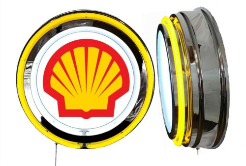 Shell Oil Big Shell Sign, Neon Sign, YELLOW Outside Neon, Chrome Shell  NO Clock