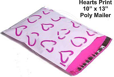 (30) PINK HEARTS Print 10 x 13 Poly Mailers Self Sealing Envelopes Bags Designer