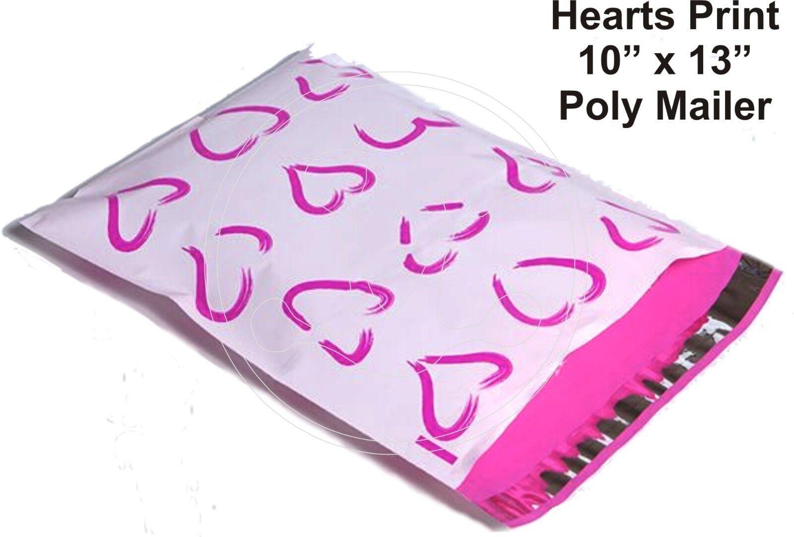 (35) PINK HEARTS Print 10 x 13 Poly Mailers Self Sealing Envelopes Bags Designer