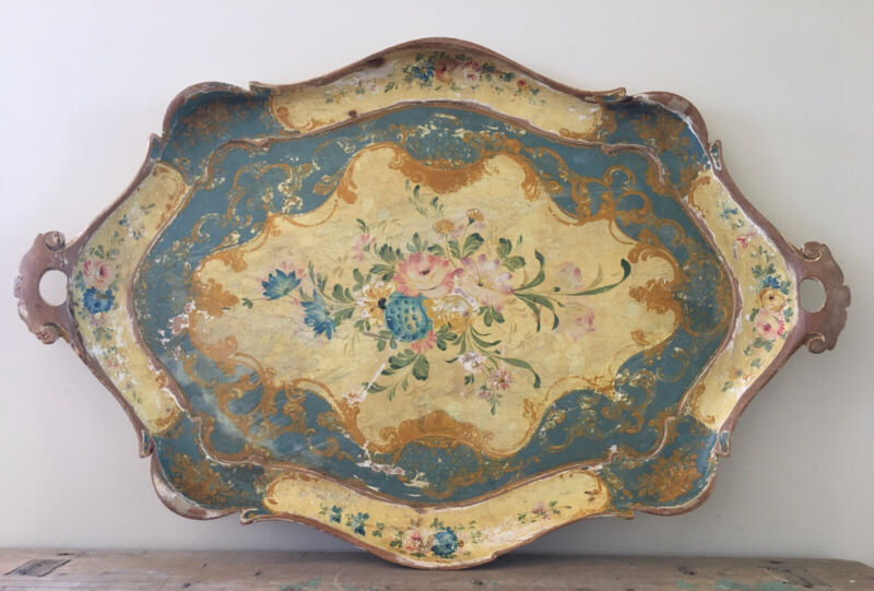 """Lovely Worn Vintage Floral Italian Florentine Tole Wood Tray w Handles~Large 29"""""""