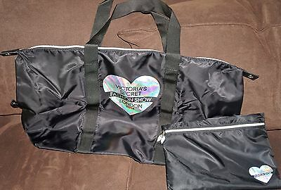 Victoria's Secret FASHION SHOW 2014 Large Zippered Tote Bag & Pouch BLACK NEW