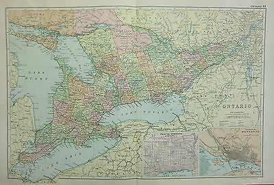 1912 LARGE ANTIQUE MAP ~ CANADA ~ ONTARIO ENVIRONS MONTREAL TORONTO