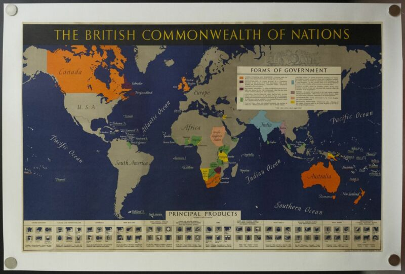 c.1942 British Commonwealth of Nations World Map Poster WWII Vintage Original