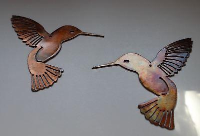 "Hummingbird Pair Metal Wall Art Decor Pair of 2 -- 6"" x 6"""