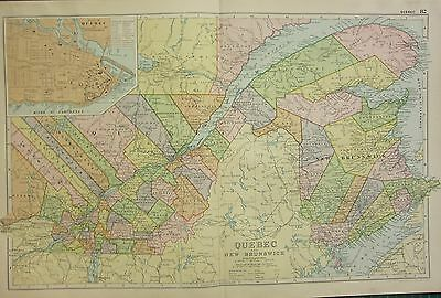 1912 LARGE ANTIQUE MAP ~ CANADA ~ QUEBEC & NEW BRUNSWICK PLAN OF QUEBEC
