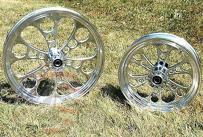 Kool Kat Polished Billet 21 x 2.15 Front 16 x 3.5 Rear Wheel Rim Package Harley