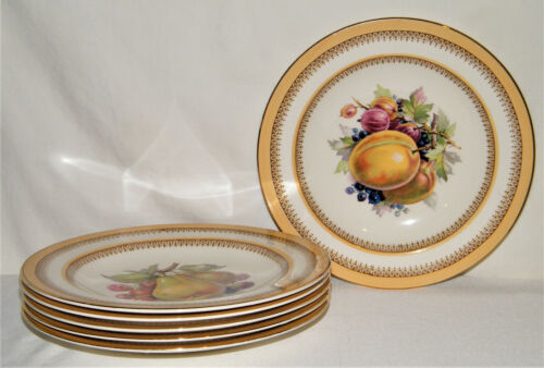 "Lovely Vintage Set (6) CROWN DUCAL FRUIT CENTER 9"" PLATES Yellow Bands England"