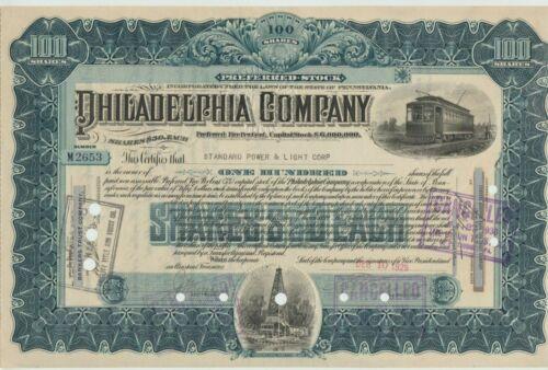 1929 Philadelphia Company Stock Certificate Pennsylvania