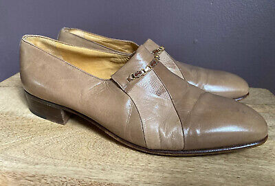 Stemar Mens Dress Shoes Made In Italy 100% Leather Beigle Size 8.5