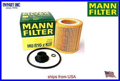 BMW Oil Filter Kit with Plastic Drain Plug MANN 11 42 7 640 862, HU816zKIT Bmw Oil Filter Kit