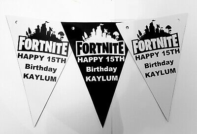 Personalised Game Fortnite Birthday Bunting Banner Black and White 12x](Birthday Black And White)
