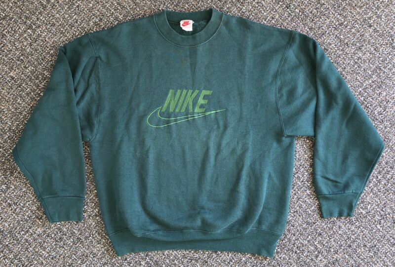 Vintage Nike Grey Tag Green Sweat Shirt Crew Neck Embroidered Made In USA Size L