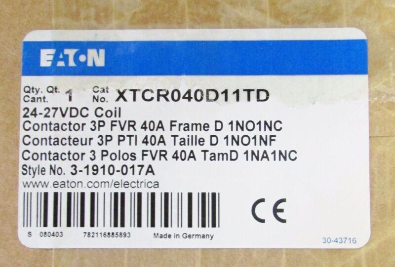 EATON CUTLER HAMMER Forward Reverse Contactor 24-27VDC 40 Amp XTCR040D11TD