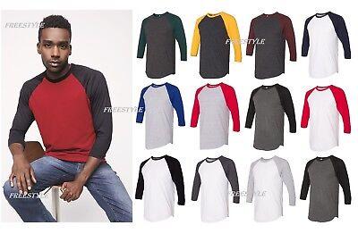 American Apparel 50/50 Three-Quarter Sleeve Raglan T-shirt Men's Tee  BB453W