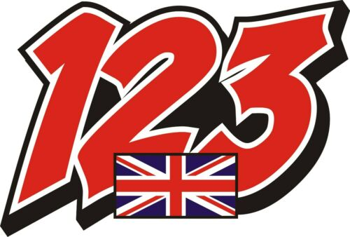 RACE+NUMBERS+PLUS+FLAG+DECALS+STICKERS+GRAPHICS++GRAPHICS++x3