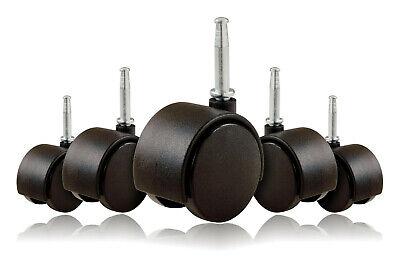 2 Inch Office Chair Twin Wheel Casters 516 Metal Stem Black - Set Of 5