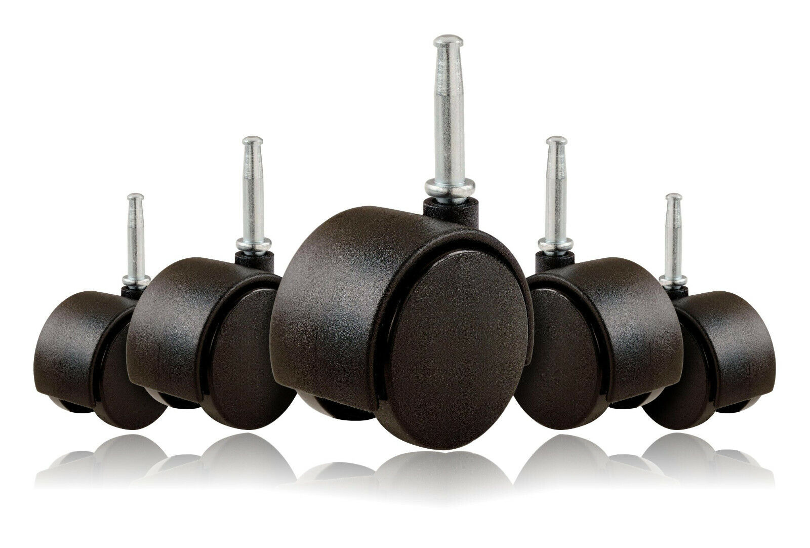 2″ Inch Office Chair Twin Wheel Casters 5/16″ Metal Stem [Black] – Set of 5 Business & Industrial