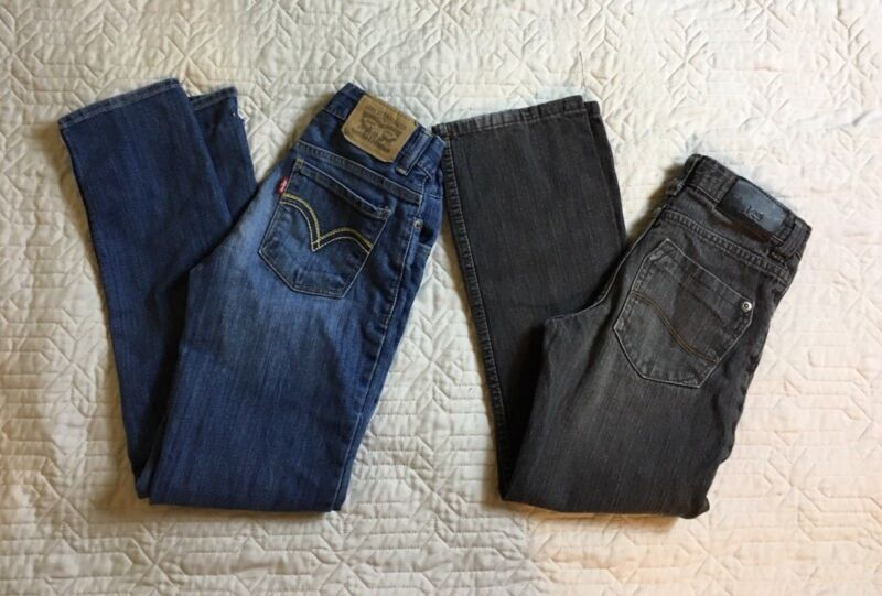 Levis Lee Blue Jeans Gray Kids Size 10 Slim Regular Straight Boyfriend Lot Of 2