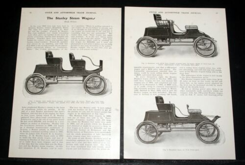 1903 OLD MAGAZINE ARTICLE, THE STANLEY STEAM WAGONS, SURRYS AND RUNABOUT CARS!