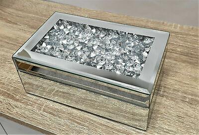 Gatsby Joyero Espejo Apiñado Cristal Plata Diamante Biselado Vidrio Brillante