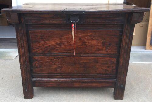 Antique Asian Storage Table Elm Wood
