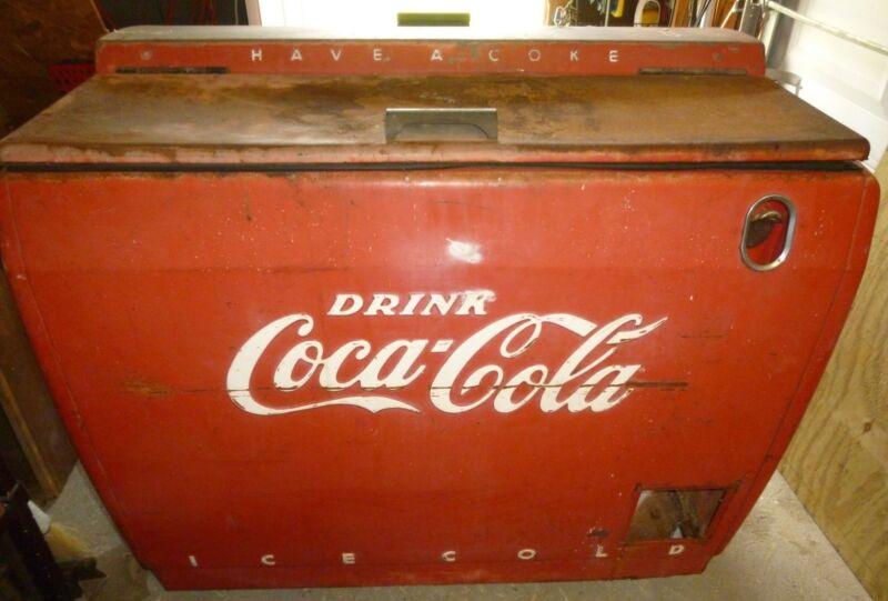 VINTAGE, COCA COLA MACHINE, Cooler, Pepsi, Chest, Antique,Vending, Slider, Vendo