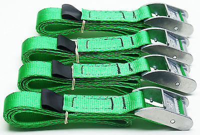 4-pack GREEN 1m x 25mm Cam Buckle Endless Lashing 400kg; Cargo Straps