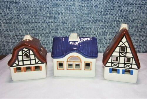 1989 - 1990 URSULA LEYK GERMANY TEA LIGHT 3 HOUSES VILLAGE LICHTHAUSER