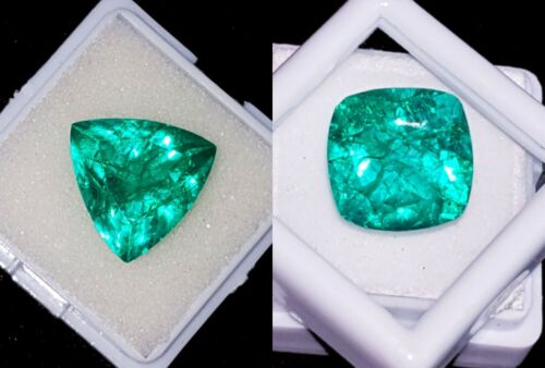 Natural Emeralds  Loose Gemstones Certified 8 to 10 Cts 2 Pieces RK54