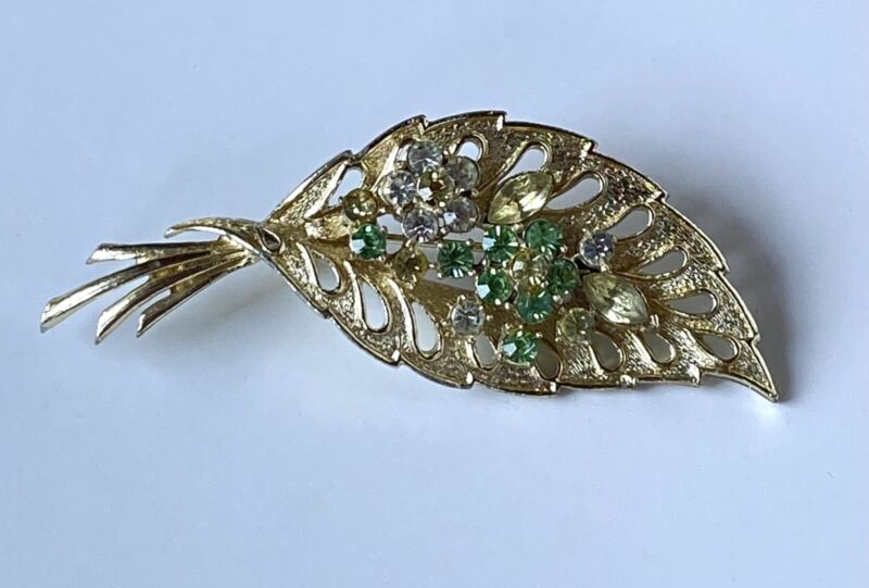 Vintage Signed Coro Textured Leaf W/ Green Yellow Rhinestones Flower Brooch Pin