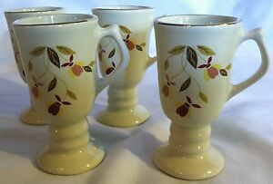 Hall Autumn Leaf Pattern MINI IRISH COFFEE MUGS SET 4