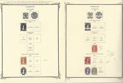 Tasmania Stamp Collection 1853 to 1912 on 9 Scott Specialty Pages