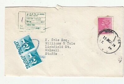 GB 1974 POSTAGE TO PAY COVER.Rfno.PD26.